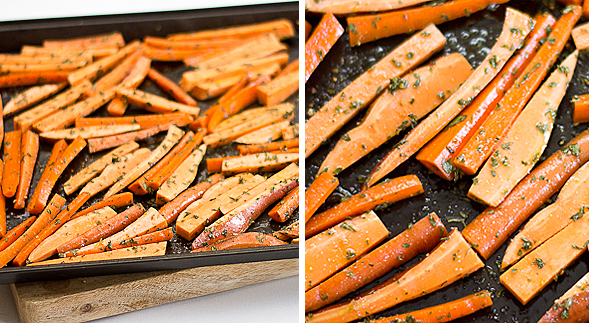 Oven Baked Carrot and Sweet Potato Fries - Wishful Chef