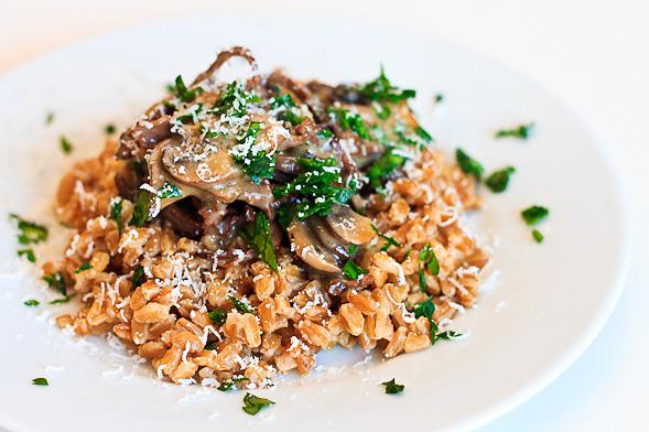 Farro Recipe with Mushrooms, Fresh Parsley and Truffle Butter // wishfulchef.com