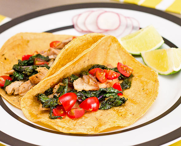 Chicken and Kale Tacos