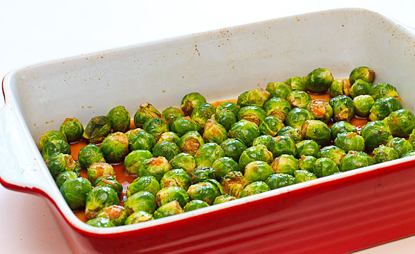 Bake Brussels sprouts for about 30 minutes.