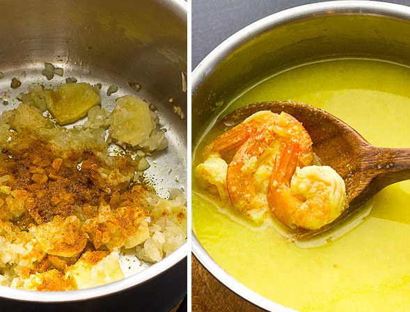 Saute shallot, garlic, ginger and turmeric. Add coconut milk, then stir in shrimp.