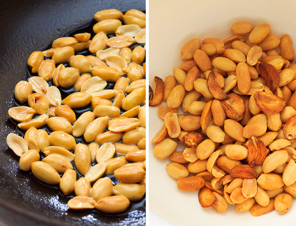 Stir peanuts in garlic oil until golden brown, then toss together with fried garlic and salt.