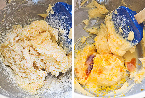 Mix butter and sugar together, then stir in lemon zest and vanilla.