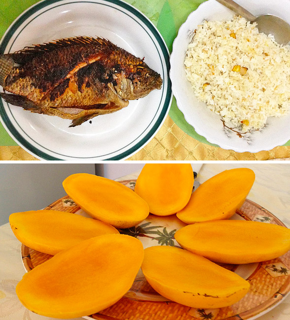 Whole tilapia, garlic rice and the BEST mangoes in the world!