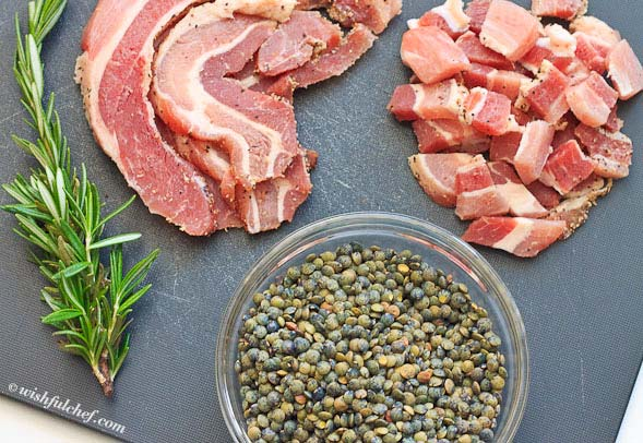 Lentils Pancetta Rosemary ingredients