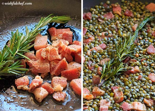 Saute pancetta, onions and rosemary sprig together, then stir in lentils.