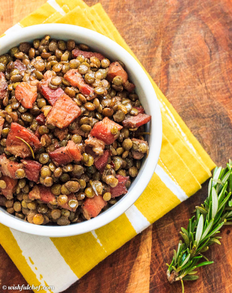 Lentils with Pancetta and Rosemary