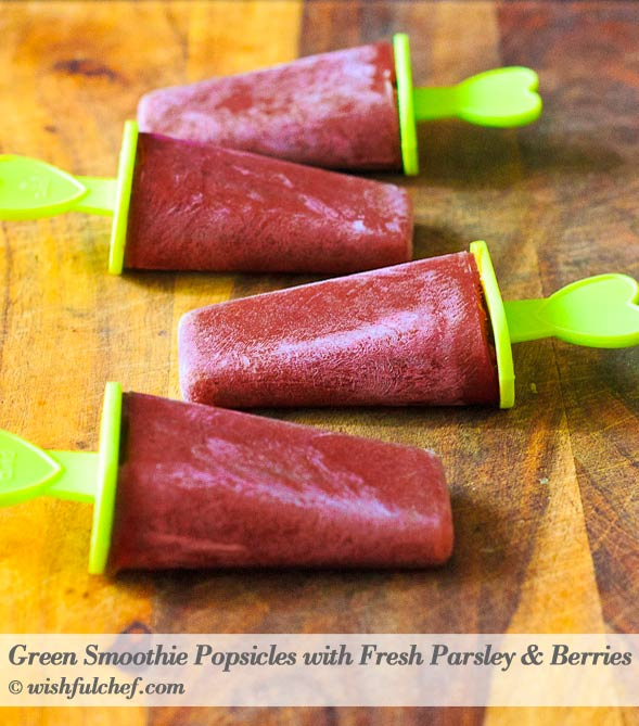 Green Smoothie Pops Parsley Berries