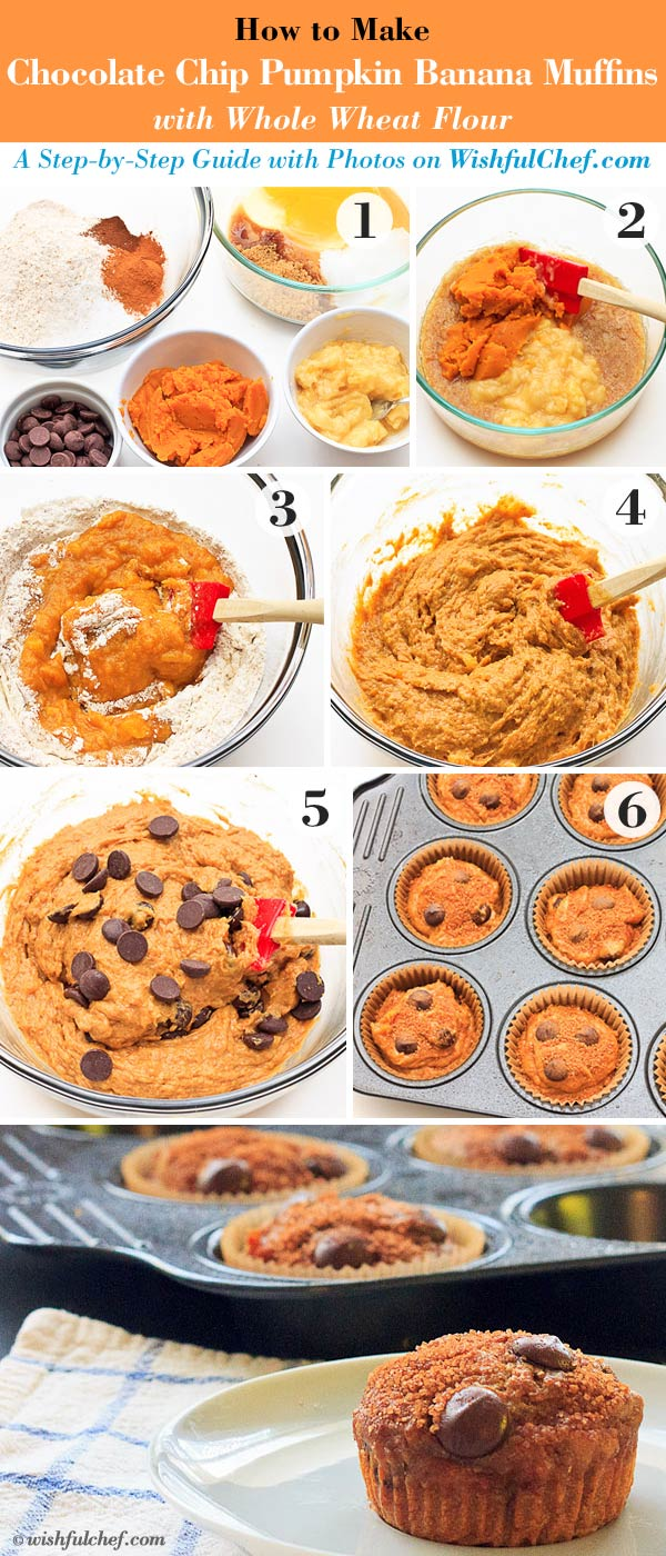 Chocolate Chip Pumpkin Banana Muffins steps