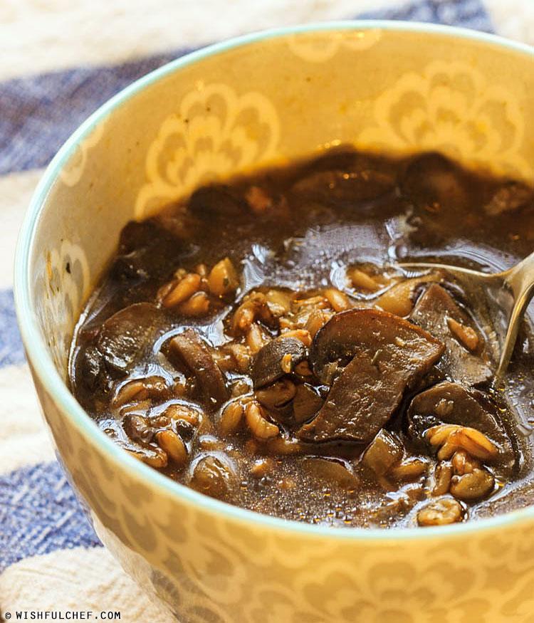 Farro Soup with Mushrooms - Wishful Chef